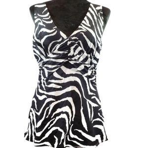 White House Black Market Zebra Print Blouse XS
